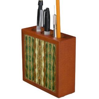 Abstraktes vertikales gestreiftes beige Grün Stifthalter