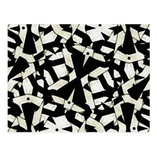 Abstraktes Verzierungs-Schwarzweiss-Muster Postkarte
