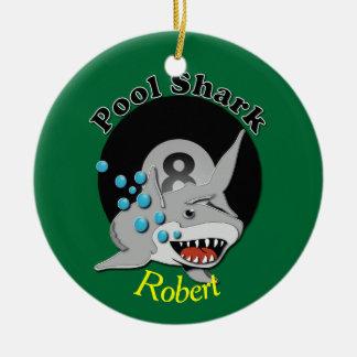Acht Ball-Pool-Haifisch-Widmung Keramik Ornament