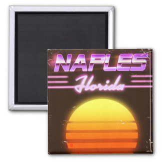 Achtzigerjahre Neapels Florida Reiseplakat Quadratischer Magnet