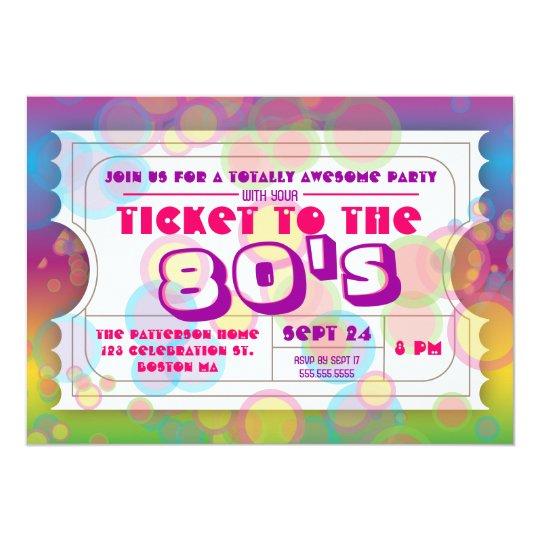 Achtzigerjahre Party-Karten-Aufnahme-Einladung Karte