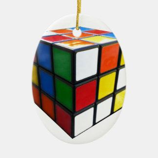Achtzigerjahre Puzzlespiel-Würfel Ovales Keramik Ornament