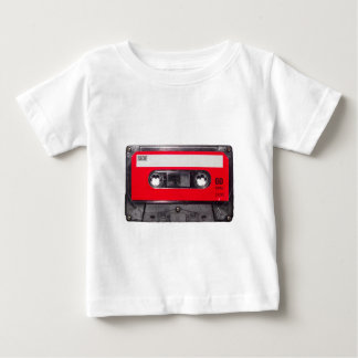 Achtzigerjahre rote Aufkleber-Kassette Baby T-shirt