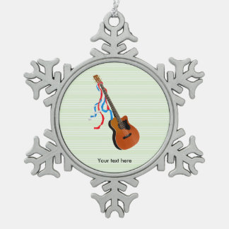 Acoutic Bass-Gitarren-Illustration Schneeflocken Zinn-Ornament