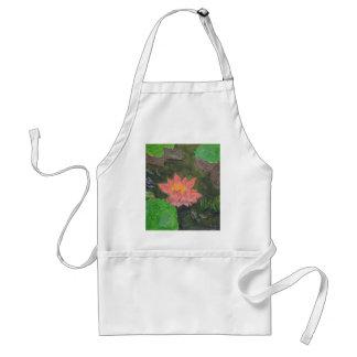 Acryl auf Leinwand, rosa Wasserlilien-Blume Schürze