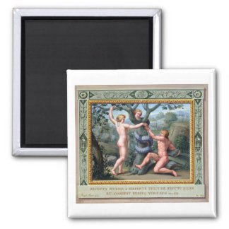 Adam und Eve mit der Schlange, Illustration von t Quadratischer Magnet