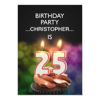 Addieren Sie einen Namen, 25. Geburtstags-Party 12,7 X 17,8 Cm Einladungskarte
