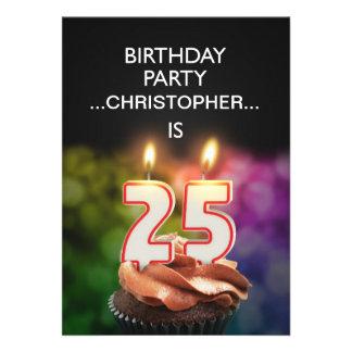 Addieren Sie einen Namen, 25. Geburtstags-Party Individuelle Ankündigungskarte