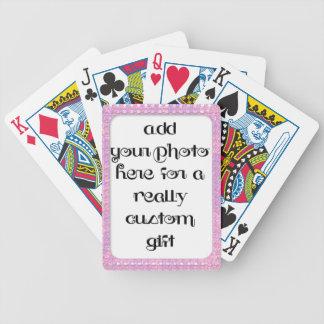 Addieren Sie Ihr Foto-Baby-Rosa-Rahmen Bicycle® Pokerkarten