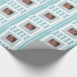Addieren Sie Ihr Foto-blaues weißes gestreiftes Geschenkpapier