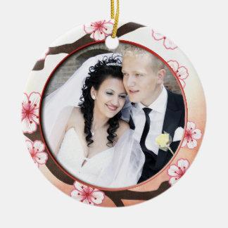Addieren Sie Ihr Foto Kirschblüte danken Ihnen Rundes Keramik Ornament