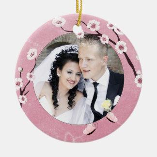 Addieren Sie Ihr Foto Kirschblüte und Rundes Keramik Ornament