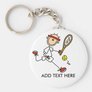 Addieren Sie Text-kundengerechtes Tennis Keychain Standard Runder Schlüsselanhänger