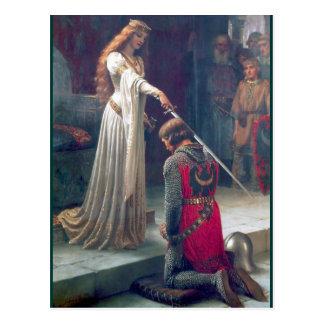 Adelnde antike Malerei des Ritters Damenkönigin Postkarten