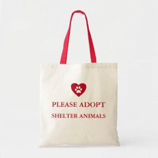 """""""Adoptieren Sie bitte Schutz-Tier-"""" Taschen-Tasche Budget Stoffbeutel"""
