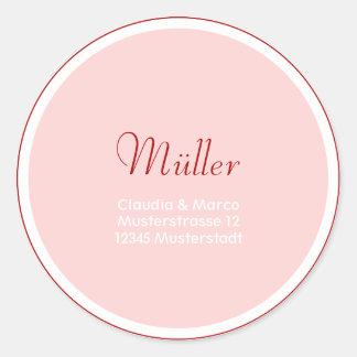 Adressaufkleber für die Hochzeitspapeterie Runder Sticker