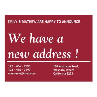 Adressenänderung der Adressen-Änderungs-| | neue Postkarte