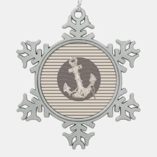 Adretter beige Streifenstrand nautischanker Schneeflocken Zinn-Ornament
