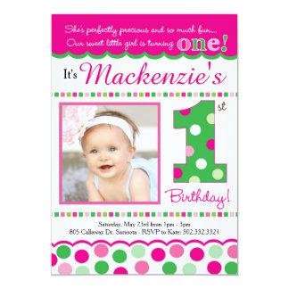 Adretter rosa u. grüner Tupfen-erster Geburtstag 12,7 X 17,8 Cm Einladungskarte