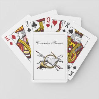 Adrettes Reiterpferd, das durch Horn-Farbe springt Spielkarten