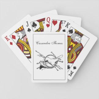 Adrettes Reiterpferd, das durch Horn-Jagd springt Spielkarten