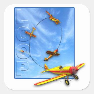 Aerobatic Manöver der Schleife mit Flugzeug Quadrat-Aufkleber