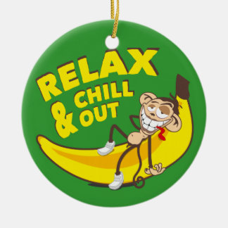 Affe Auf Banane - Relax And Chill Out! Keramik Ornament