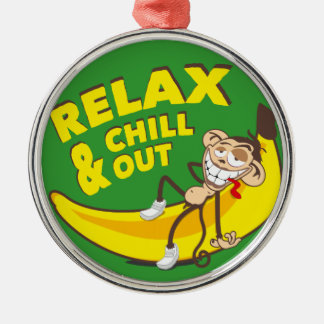 Affe Auf Banane - Relax And Chill Out! Silbernes Ornament
