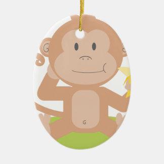 Affe, der Banane isst Keramik Ornament