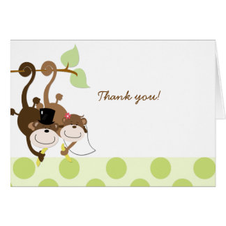 Affe-Hochzeits-Paare danken Ihnen Anmerkungs-Karte Karte