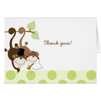 Affe-Hochzeits-Paare danken Ihnen Anmerkungs-Karte Mitteilungskarte