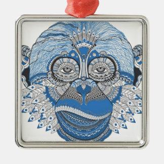 Affe - universell quadratisches silberfarbenes ornament