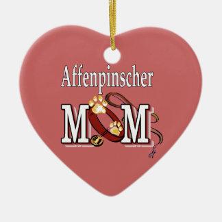 Affenpinscher-Mamma Keramik Herz-Ornament