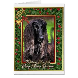 Afghanische Jagdhund-Raum-Weihnachtskarte Karte