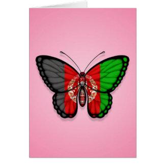 Afghanische Schmetterlings-Flagge auf Rosa Karte