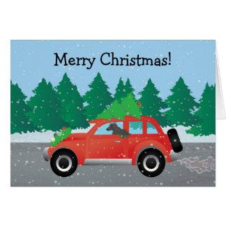 Afghanischer Jagdhund - Auto mit Weihnachtsbaum Karte