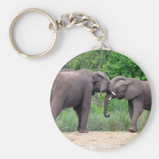 Afrikanische Elefant-Wechselwirkung Schlüsselanhänger