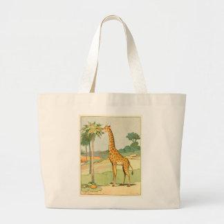 Afrikanische Giraffe, die Akazien-Blätter isst Jumbo Stoffbeutel