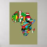 Afrikanische Karte von Afrika-Flaggen innerhalb de Poster