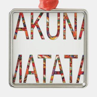 Afrikanische Vintage Farben Hakuna Matata.jpg Silbernes Ornament