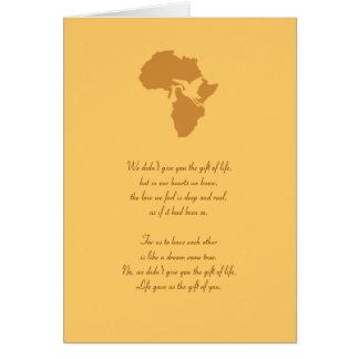 Afrikanisches Adoptions-Geschenk von Ihnen Gedicht Mitteilungskarte