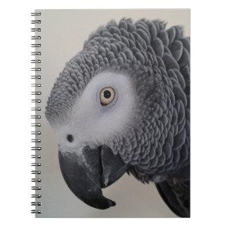 Afrikanisches Grau-Papageien-Notizbuch/Zeitschrift Spiral Notizblock