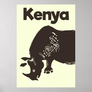 Afrikanisches Vintages Plakat KeniaRhino