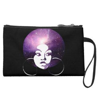 Afro-Diva-lila Galaxie u. schwarzer Wristlet