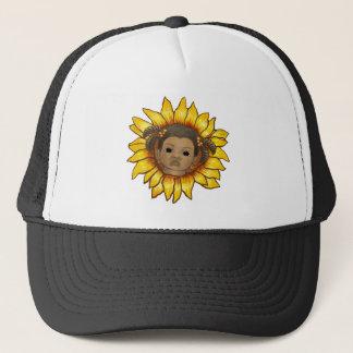 Afro-Mädchen-Sonnenblumehut Truckerkappe
