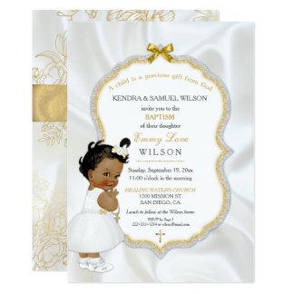 Afroamerikaner-Baby-Taufe-Goldkreuz 12,7 X 17,8 Cm Einladungskarte