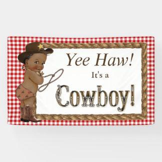 Afroamerikaner-Cowboy-Babyparty Banner