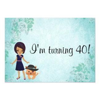 Afroamerikaner drehe ich Geburtstag 40 12,7 X 17,8 Cm Einladungskarte