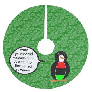 Afroamerikaner-Feiertags-Herr Penguin Polyester Weihnachtsbaumdecke