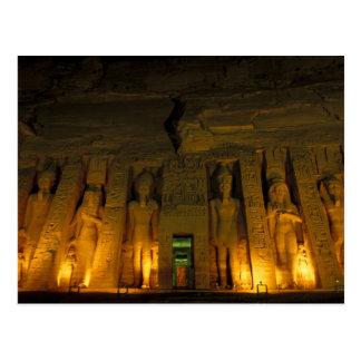 Ägypten, Abu Simbel, beleuchtete Fassade von Postkarte